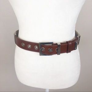 Dolce and Gabbana leather trimmed canvas belt